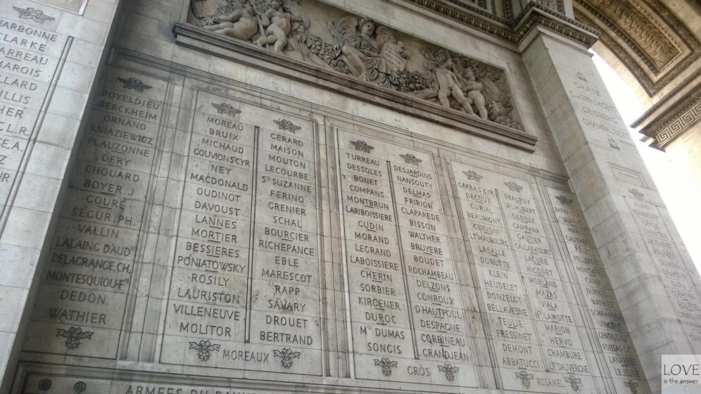 Nazwiska na ścianach Łuku Triumfalnego