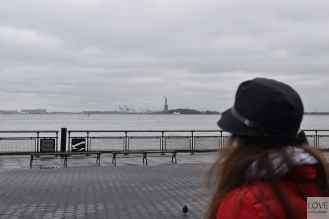 Battery Park i widok na statuę wolności